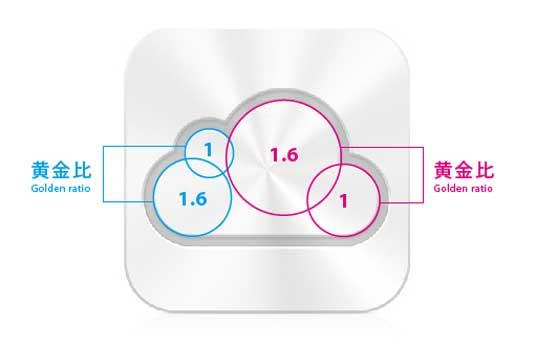 Логотип iCloud. Золотое сечение